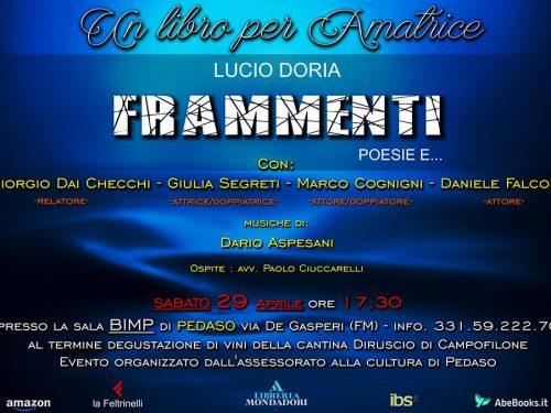 """Evento importante: Un libro per Amatrice """"Frammenti"""" di Lucio Doria"""