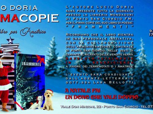 Un libro per Amatrice Lucio Doria e il firma copie solidale